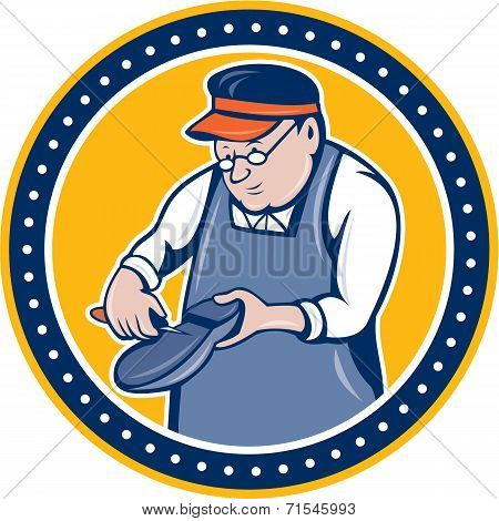 Shoemaker Cobbler Circle Cartoon