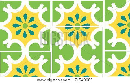Blue Daisy Tile In Talavera Style