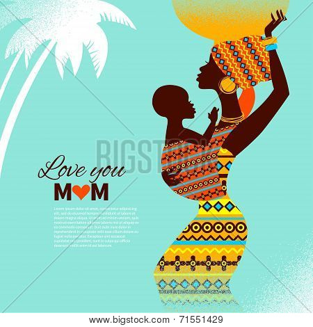 Beautiful silhouette of black african mother and baby