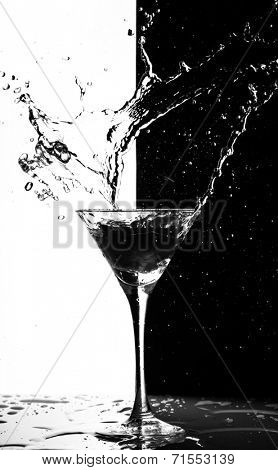 martini splash on a black-white background