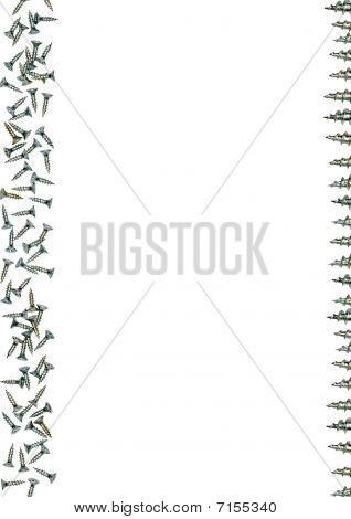 Silver metallic screws frame with a white background