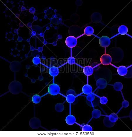 Black Light Molecule Bond Background (vector)