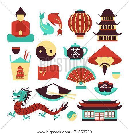 China symbols set