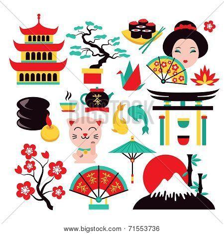 Japan symbols set