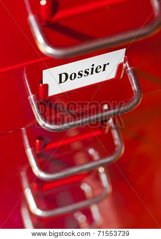Red File Cabinet With Card Dossier
