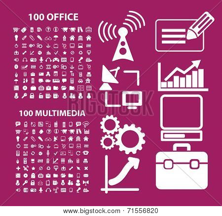 200 office, multimedia icons, illustrations, signs, silhouettes set, vector
