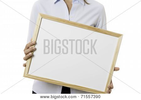 Young Business Woman Holding A Whiteboard