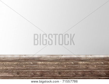 Empty Room With A Wall And Wooden Floor