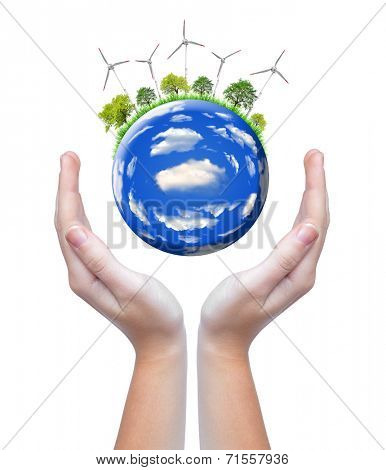 planet with wind turbines in hands