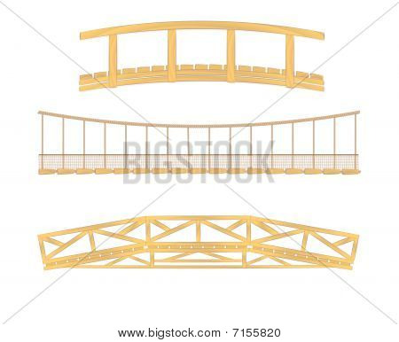 wooden and hanging bridge  illustrations