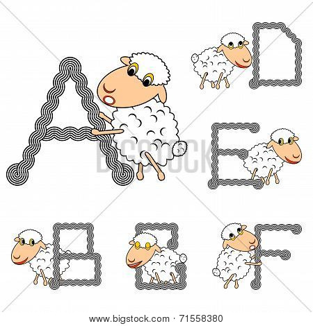 Design Abc With Funny Cartoon Sheep. Letters From A To F