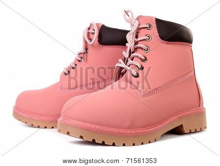 Pink working boots
