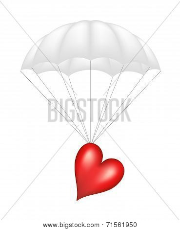 Heart at white parachute