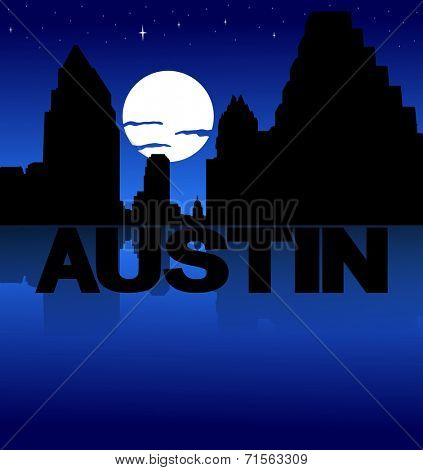Austin skyline reflected with text and moon illustration