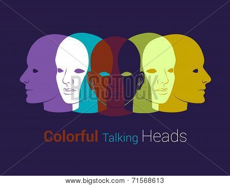 Human Heads Silhouettes. Group Of People Talking, Working Together. Concept Illustration