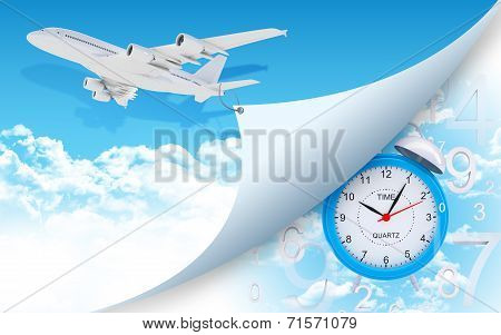 Airplane and alarm clock with figures