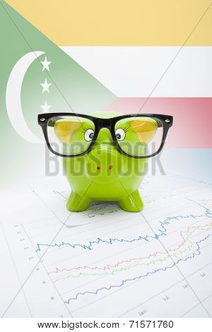 Piggy Bank With Flag On Background - Comoros