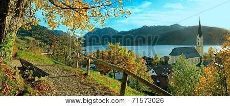 Beautiful View To Schliersee Village In Autumn