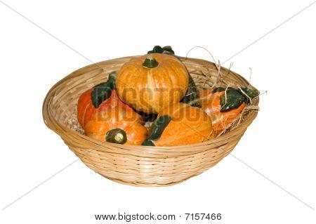 Basket Of Vegetables On White Background