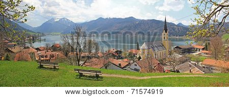 Lookout Point With Benches, View To Schliersee Lake And Village