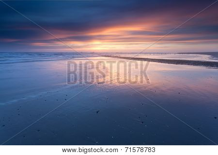 Sunset Over North Sea Coast