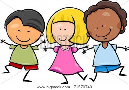 Multicultural Children Cartoon Illustration