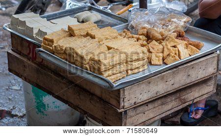 Fried soya-cake in market