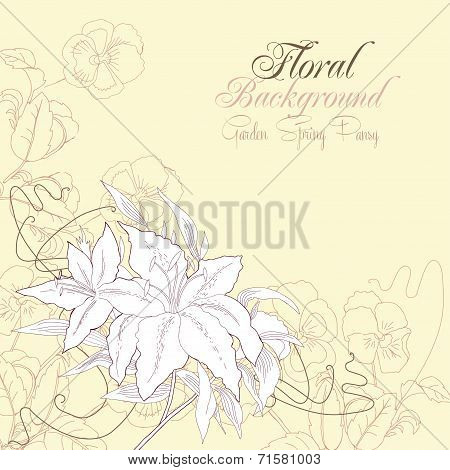 Floral background with pansies and lilies