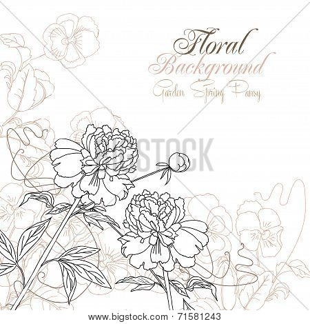 Floral Background with pansies and peonies