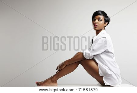 Black Woman With Ideal Skin Sitting In The Man Shirt