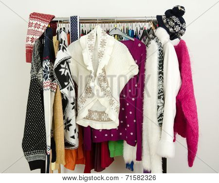 Cute sweaters with snowflakes displayed on a rack.
