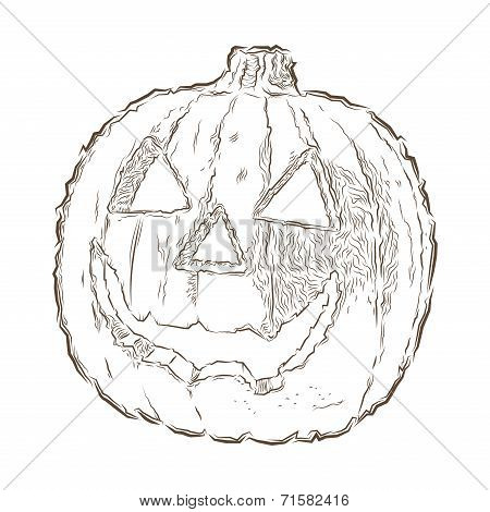 Scary Jack O Lantern Halloween Pumpkin Isolated On A White Background. Line Art. Retro Design. Vecto