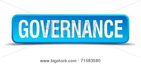 Governance Blue 3D Realistic Square Isolated Button