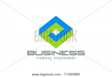 Logo Business Rhombus vector design Abstract Infinite impossible loop template.  Corporate icon such as logotype. Creative Square infinity concept.