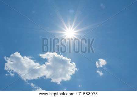 Blue Sky With Fluffy Clouds And Sunbeams