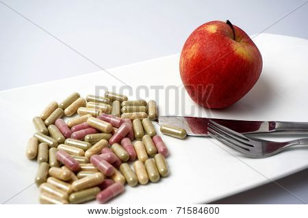 Medicine Capsule Vs Healthy Apple