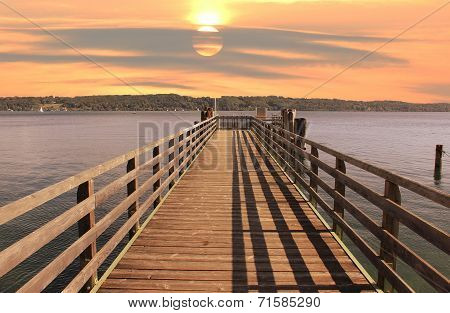 Wooden Landing Stage At Starnberger See, Germany