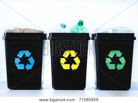 Containers For Recycling - Plastic, Glass, Paper