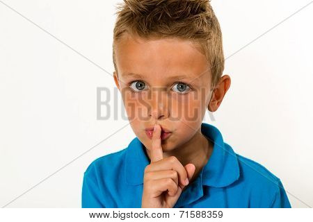 Boy Making Keep Quiet Gesture