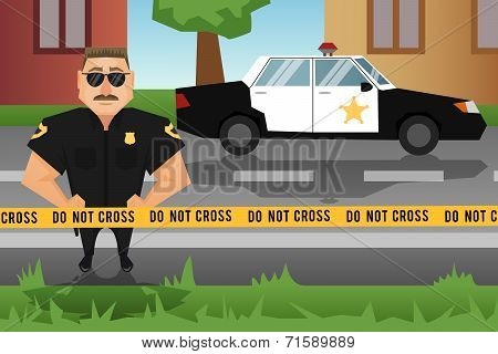 Policeman and patrol car