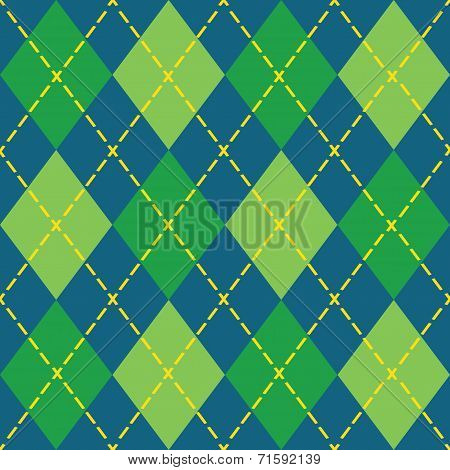 Colorful blue and green argyle seamless pattern