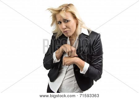 Portrait of blond business woman fool around