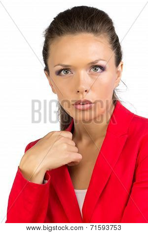 Portrait of business lady in red jacket
