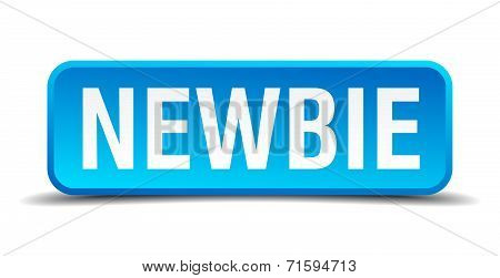 Newbie Blue 3D Realistic Square Isolated Button