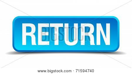 Return Blue 3D Realistic Square Isolated Button