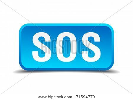 Sos Blue 3D Realistic Square Isolated Button