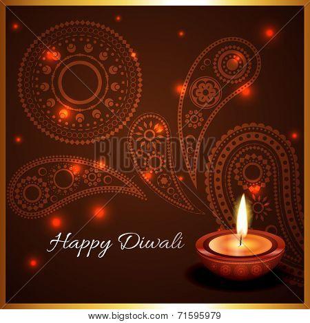 Vector artistic background of diwali diya