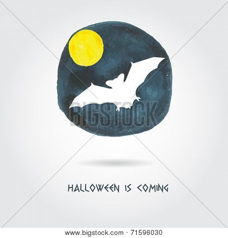 Halloween banner with bat on watercolor spots background