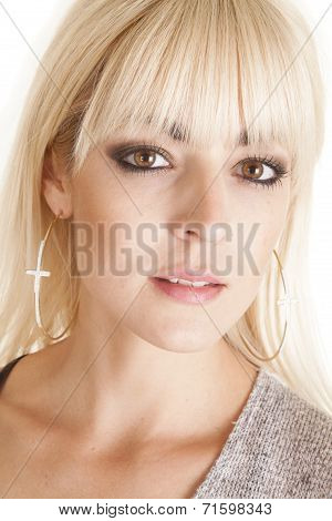 Woman Hoop Earrings Cross