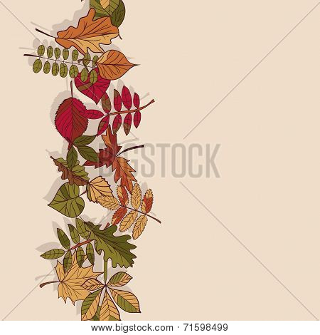 Autumn Pattern. Pattern Of Autumn Leaves. Red, Yellow And Green Leaves Of Forest Trees. Seamless Bor